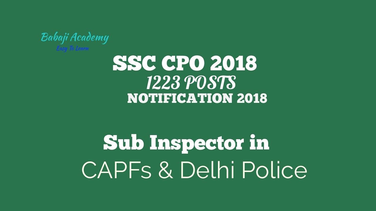 ssc cpo 2018 notification