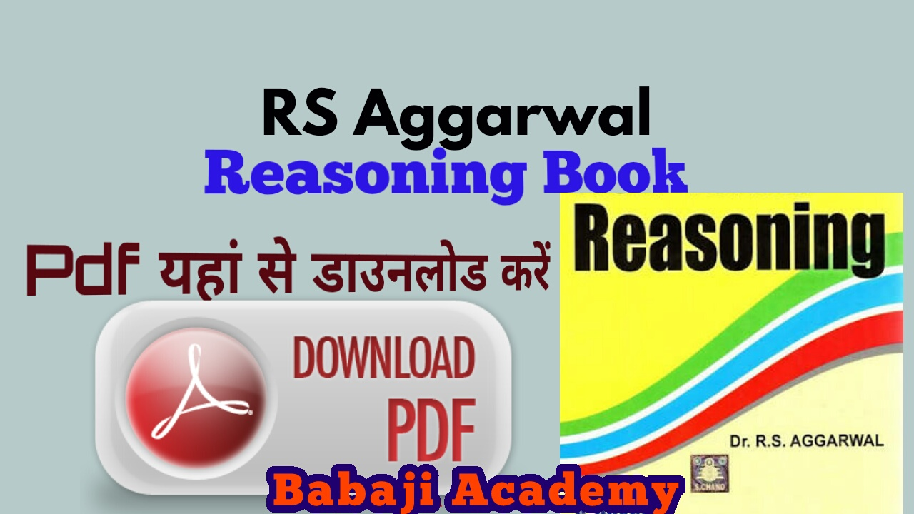 RS Aggarwal Reasoning Book PDF: RS Aggarwal Logical Reasoning Pdf