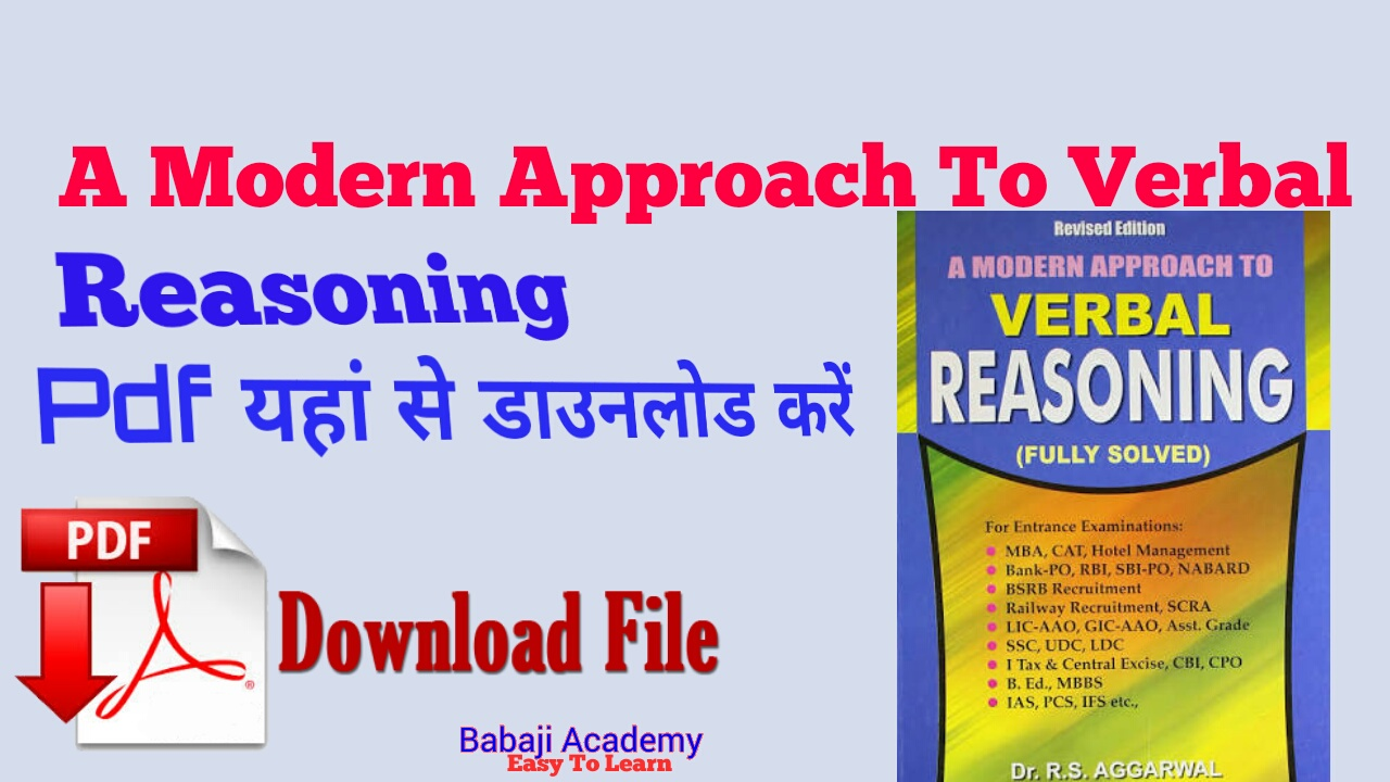 Download RS Aggarwal Verbal & Non-Verbal Reasoning pdf