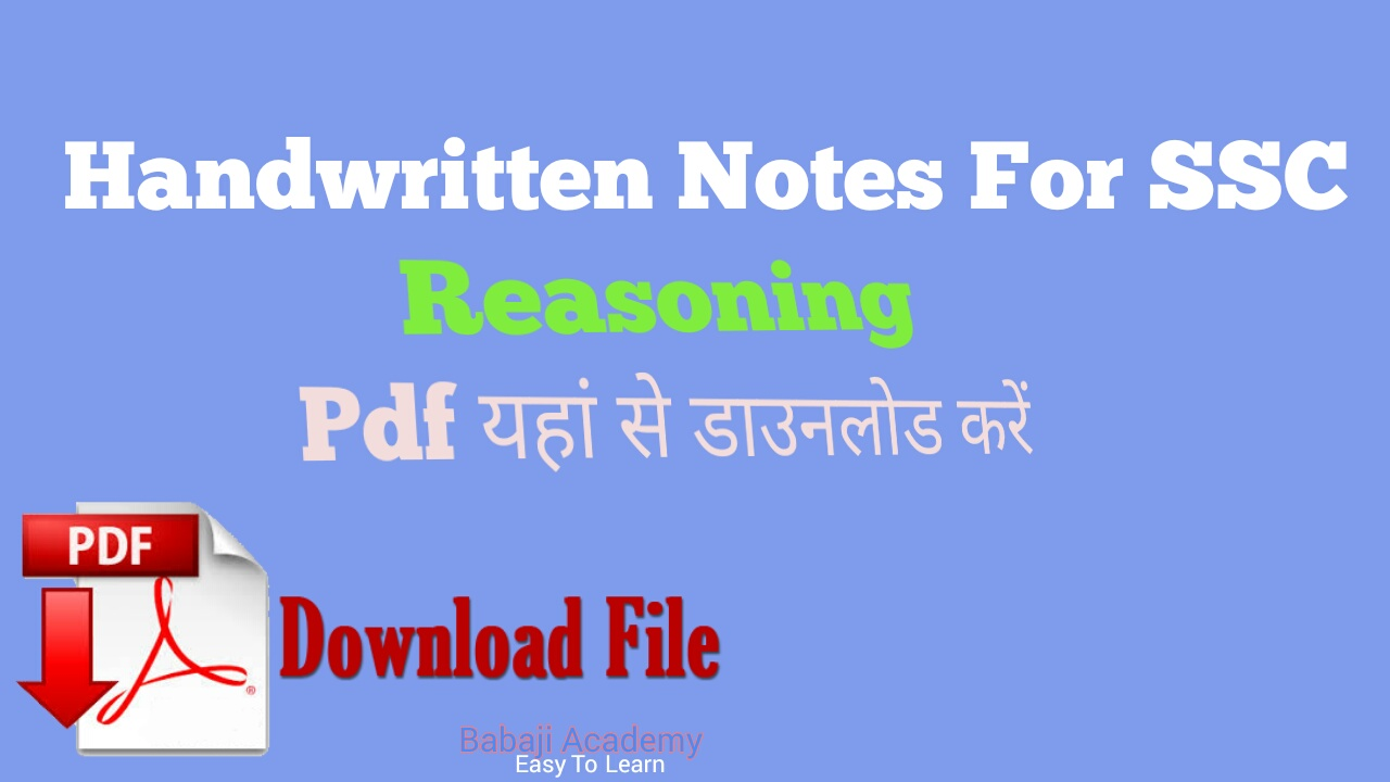 SSC Reasoning in Hindi: Rakesh Yadav Reasoning class notes pdf