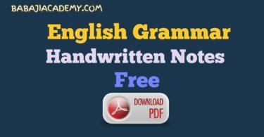 English Grammar Hand Written Notes Pdf: English Grammar Pdf Download