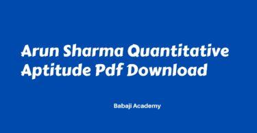 Arun Sharma Quantitative Aptitude Pdf Free Download