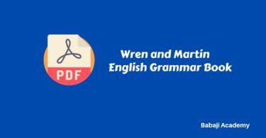 Wren and Martin English Grammar Book Pdf Free Download